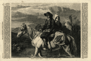 """""""Brittany peasants fording a stream"""". France. Horses 1862 ILN full page print"""